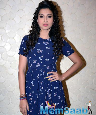 Gauhar Khan Glamour Slassy Look During Press Conference Of Top 4 Performer