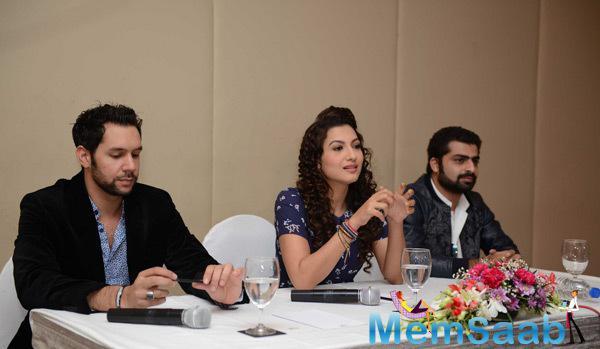 Jeffrey Iqbal,Gauhar Khan And Sagar Bhatia Attend The Press Conference Of Top 4 Performer