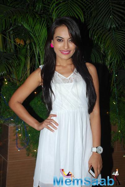 Beautiful Surbhi Jyoti Strikes A Pose During Karanveer Bohra House Warming Party