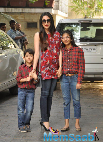 Karisma Kapoor Attended With Her Kids Son Kiaan And Daughter Samiera