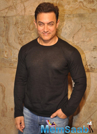 Aamir Khan In Casual Look At The Special Screening Of PK Movie