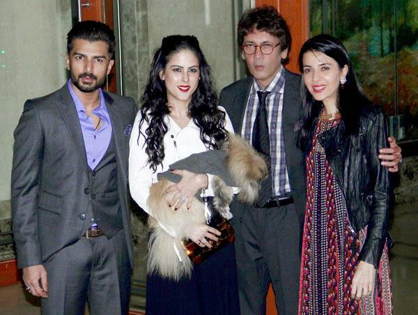 Kumar Gaurav With Wife Namrata Dutt, Daugther Saachi And Son-In-Law Bilal Amrohi Posed At Sanjay Dutt Residence