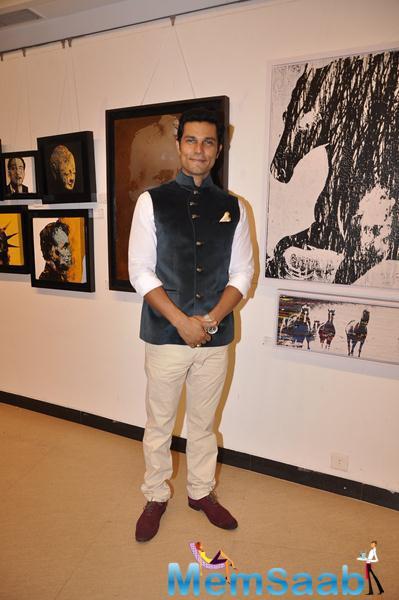 Handsome Hunk Randeep Hooda Pose At An Art Exhibition