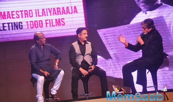 The 3 Biggies Rajinikanth,Kamal Haasan And Amitabh Bachchan Sharing The Sing Stage At Shamitabh Music Launch