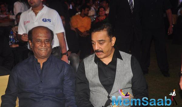 Legends Rajinikanth And Kamal Haasan Snapped While They Are Busy In Conversation