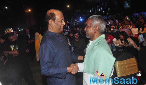 Rajinikanth And Ilayaraja Cool Meeting During The Music Launch Of Shamitabh
