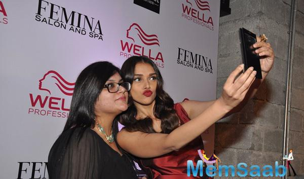 Aditi Rao Hydari Taking Selfie During Femina Salon And Spa Magazine Cover Launch