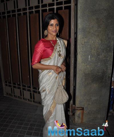 Konkona Sen Sharma In Saree Traditional Look At Soha Ali Khan And Kunal Khemu Wedding Party