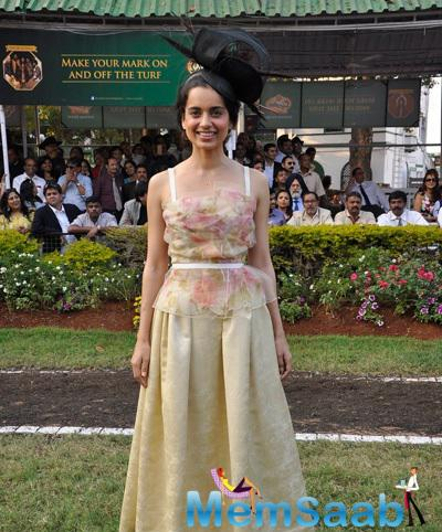 Kangna Ranaut Smiling Pose During The McDowell Signature Indian Derby 2015