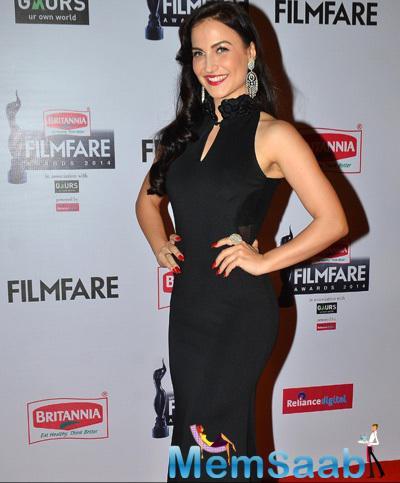 Elli Avram In Black Dress Charming Look At 60th Britannia Filmfare Awards 2015