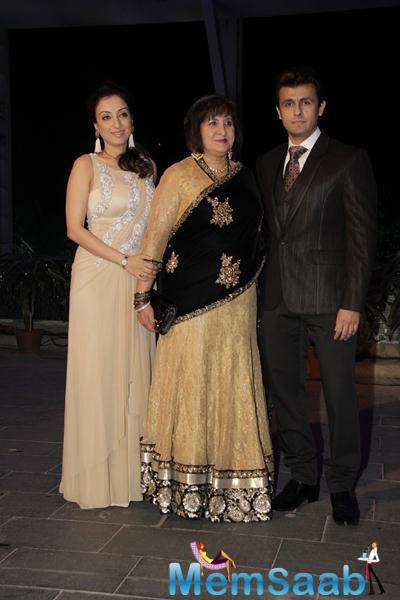 Sonu Nigam Flanked By Wife Madhurima During Smita Thackerey Son Wedding Reception