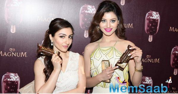 Soha Ali Khan And Urvashi Rautela At The Launch Of A New Choco Cappuccino Flavour Of Magnum Ice cream