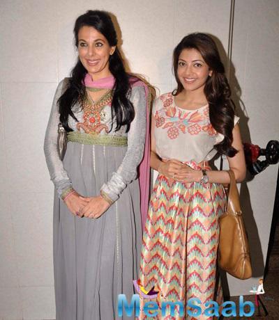 Kajal Aggarwal And Pooja Bedi Smiling Pose During NGO Alert India Event