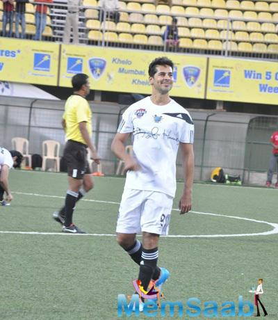 Dino Morea During The Charity Football Practice Match