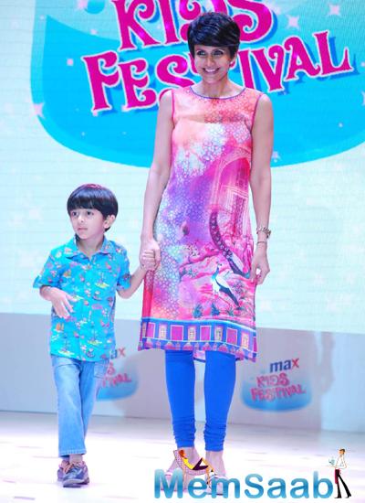 Mandira Bedi Graced On Ramp With A Kid At Max Kids Fashion Show