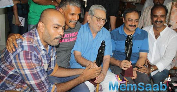 Milind Soman,Sachin Khedekar And Others Clicked During The Press Conference Of Nagrik Movie