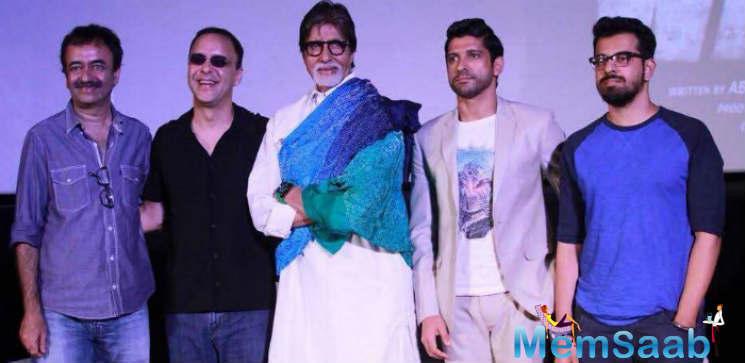 Rajkumar Hirani,Vidhu Vinod Chopra,Amitabh Bachchan And Farhan Akhtar Clicked During The Trailer Launch Of Wazir