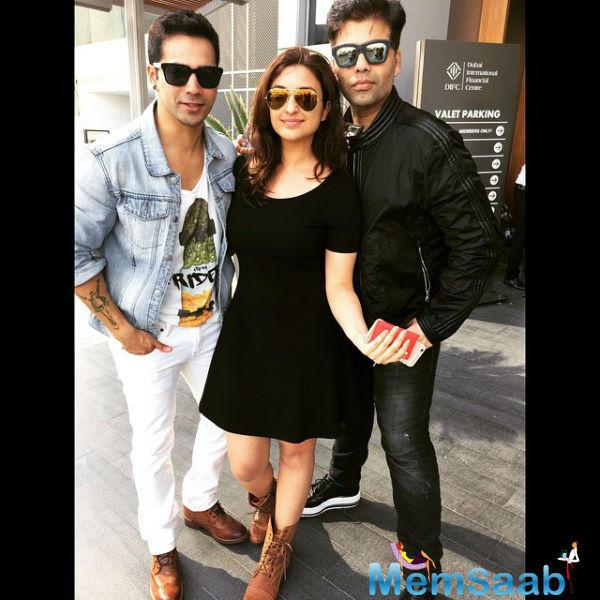 Varun Dhawan,Parineeti Chopra And Karan Johar Clicked At AIBA Awards 2015