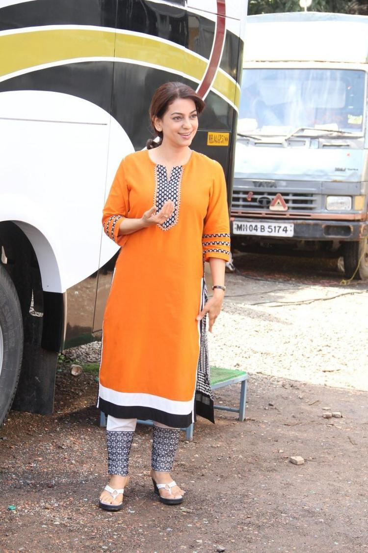 Juhi Chawla Posed For Camera On The Sets Of Her New Movie