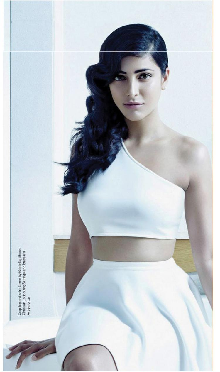 Shruti Haasan In White Dress Dazzling Look For FHM Magazine July 2015
