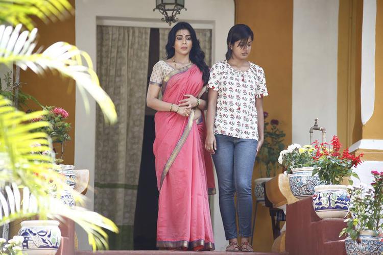 Shriya Saran And Ishita Dutta Simple Pose Still From Drishyam Movie