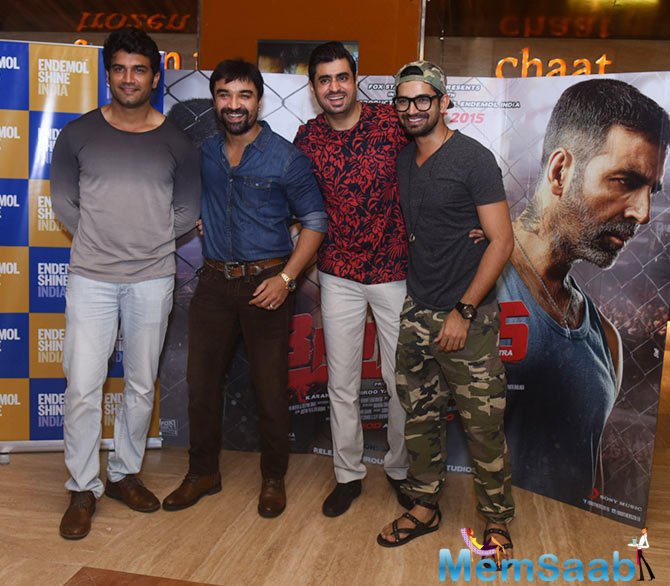 Ajaz Khan,Vishal Singh And Others Clicked During The Special Screening Of Brothers Movie