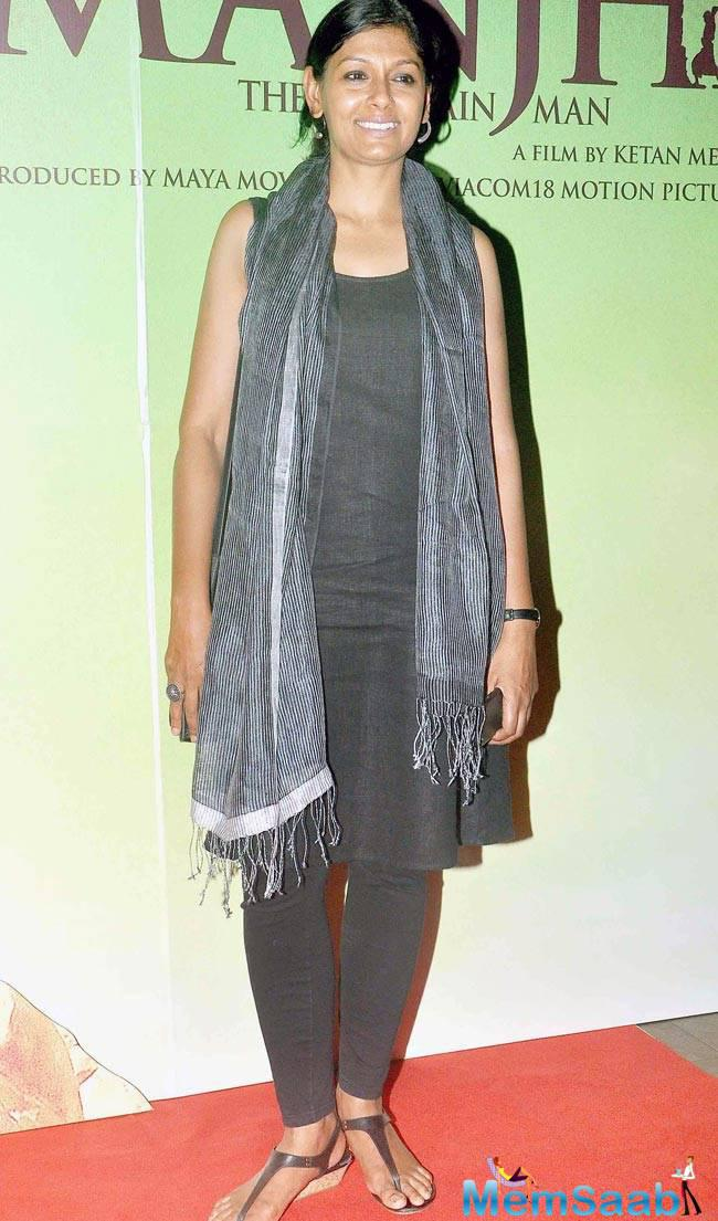 Nandita Das Flashes Smile At The Special Screening Of Manjhi