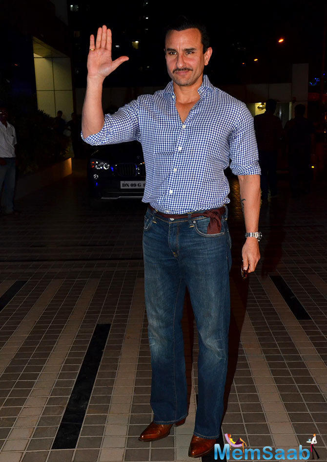 Saif Ali Khan With Different Look Spotted At Sajid's Birthday Bash