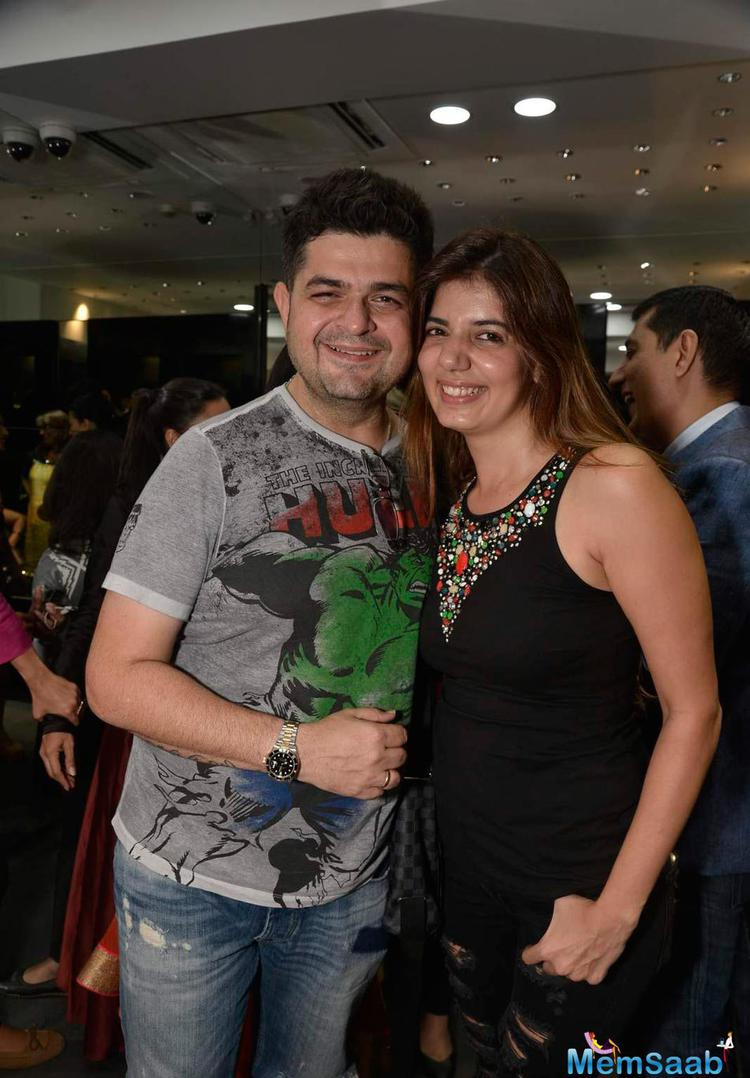 Dabboo Ratnani Posed With Wife At Shaheen Abbas Collection Launch In Gehna Store