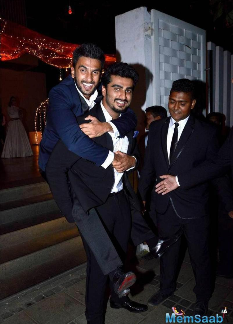 An excited Ranveer jumped over Arjun's back, the two share a special bonding with each other