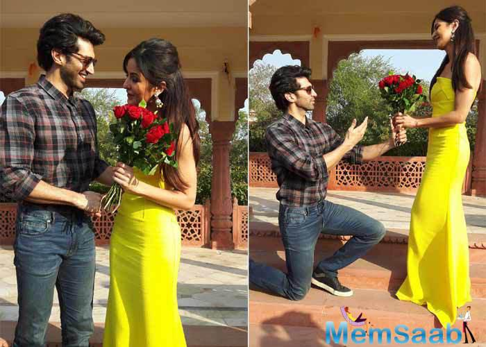 Fitoor stars celebrated Rose day in its full fervor, where Aditya Roy Kapur   gifted his leading lady Katrina Kaif One lakh fresh roses hoarded in the back of a truck