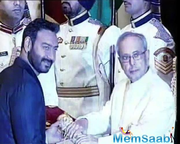 The Singham actor has been honoured for his contribution in the field of cinema. The President presented five Padma Vibhushan, eight Padma Bhushan and 43 Padma Shri awards at the function.