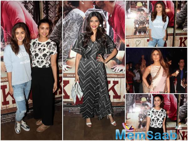 Contemporaries Alia Bhatt and Parineeti Chopra bonded really well at the screening of the movie. The two were all smiles as they posed together.