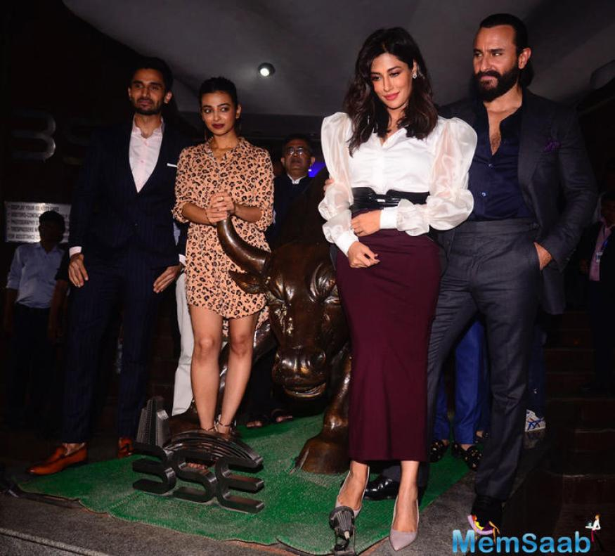 Saif, Rohan Mehra, Chitrangda Singh, Radhika Apte poses for photographers during the trailer launch of Bollywood film 'Baazaar' held at Bombay Stock Exchange in Mumbai.