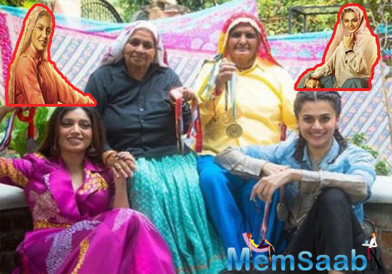 Taapsee Pannu and Bhumi Pednekar's first look from their much-anticipated biopic 'Saand Ki Aankh' is out.