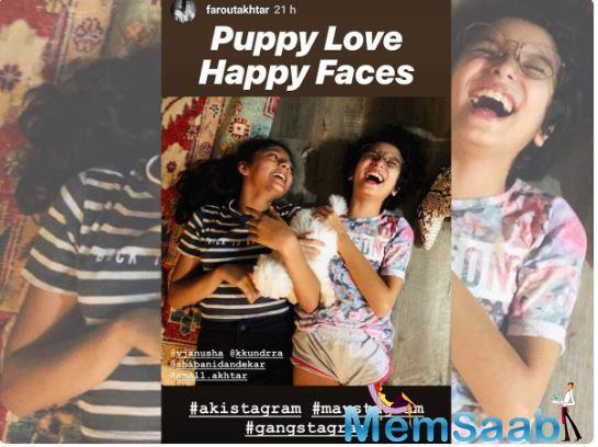 Farhan captioned the picture as, 'Puppy Love. Happy faces. #akistagram #maystagram #gangstagram'. The actor has also tagged Anusha Dandekar, Karan Kundra and his lady love Shibani Dandekar in the picture.