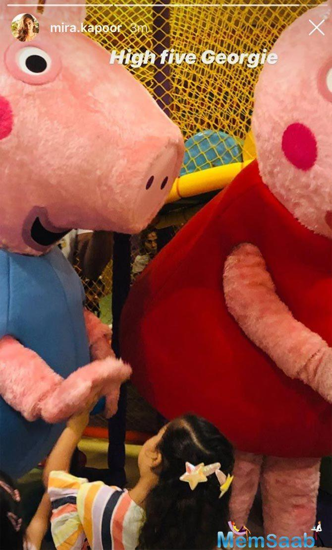 Shahid Kapoor and Mira Rajput's daughter, Misha Kapoor was out on her playdate, and the little one was all excited to meet Peppa Pig.