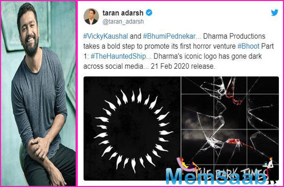 The first picture is the iconic logo of Dharma Production which has now been turned house dark, while the second one features a blood-stained broken glass that reads- The Dark Times begin now.