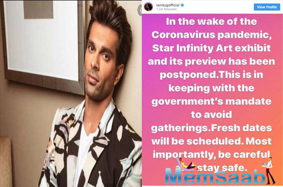 Karan Singh Grover shared a post updating his fans and Instagram followers about the same.