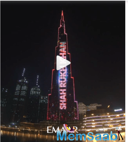 The actor took to Instagram to share a picture of himself posing against Burj Khalifa illuminated with the message,
