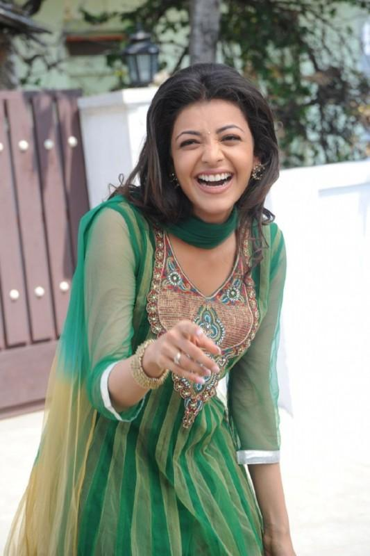Kajal Agarwal Open Smile With Green Dress