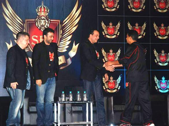 Sanjay Dutt and Raj Kundra Launches Super Fight League Slide Show