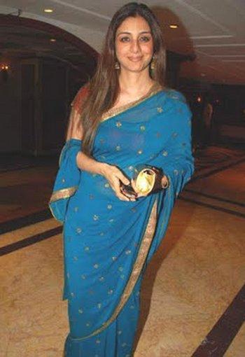 Tabu Khan Blue Saree Glamour Still