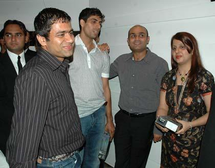 Virender Sehwag with Ashis Nehra and Friends