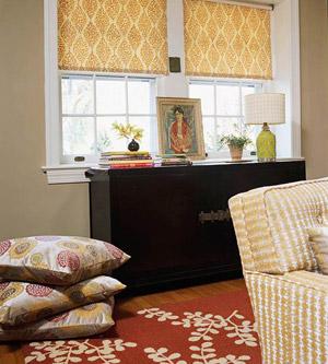patterned Roman shade