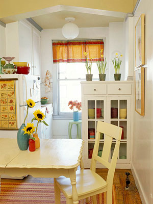 short, colorful kitchen valance