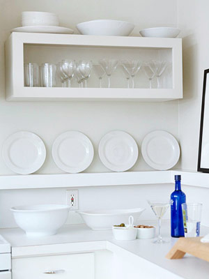 white kitchen w/ plate rack, wall-hung box cabinet