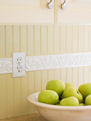 yellow beadboard w/ white tile border