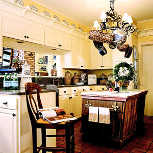 rustic island & painted cabinets