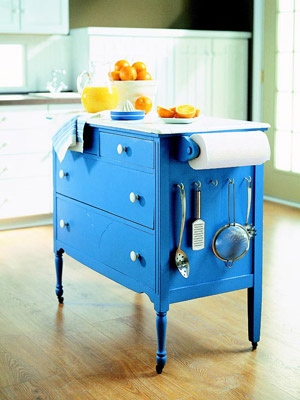 blue dresser made into island
